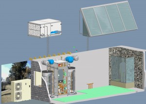 """image of Solar assisted Daikin Altherma air-to-water heat pump with back up boiler"""